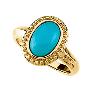 Genuine Turquoise Cabochon Ring