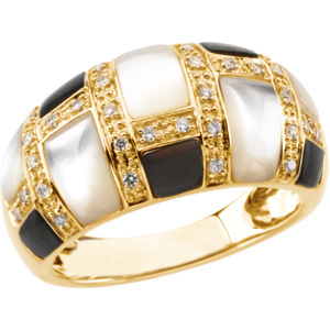 Genuine Mother of Pearl & Diamond Ring DD - 66639:60001:P
