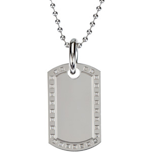 Stainless Steel Diamond Dog Tag on a 30 inch Bead Chain