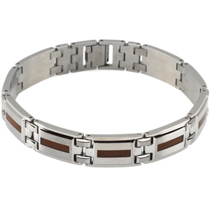 Stainless Steel Bracelet with Wood Inlay