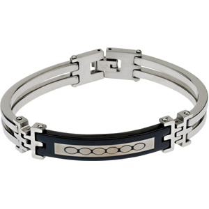 Stainless Steel & Black Carbon Fiber Mens Bracelet