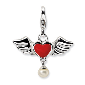 Sterling Silver 3-D Winged Red Heart FW Cult Pearl w/Lobster Charm