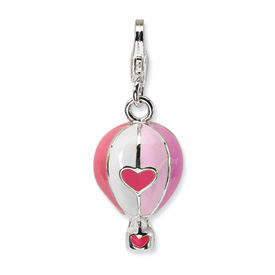 Sterling Silver 3-D Enameled Hot Air Balloon w/Lobster Clasp Charm
