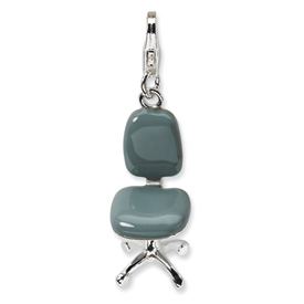 Sterling Silver 3-D Enameled Office Chair w/Lobster Clasp Charm