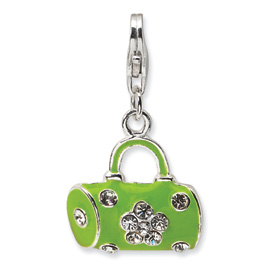 Sterling Silver Green Enameled & Crystal Purse w/Lobster Clasp Charm