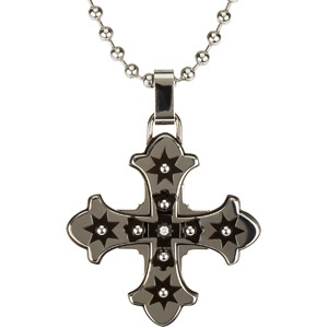 Ion Plated Diamond Cross with 30 inch Bead Chain