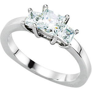 3-Stone Euro Shank Engagement Ring Mounting  DD - 121661:101:P