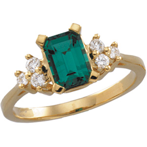 Chatham Created Emerald & Diamond Ring DD - 67669:61114:P