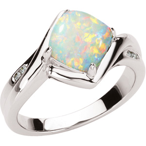 Genuine Opal & Diamond Ring DD - 66617:60001:P