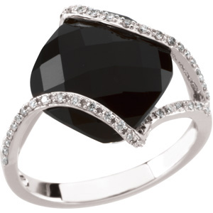 Genuine Onyx & Diamond Ring DD - 66624:60001:P