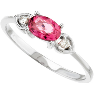 Genuine Pink Tourmaline & Diamond Ring DD - 67566:100:P