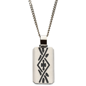 """Stainless Steel Pendant with Black Ion plated insert on 24"""" Stainless Steel Curb Chain"""