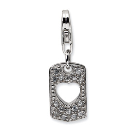 Sterling Silver CZ Cut-out Love Heart Clip-on w/Lobster Clasp Charm