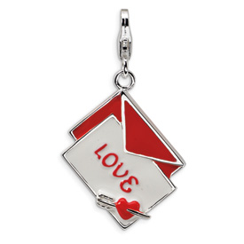 Sterling Silver 3-D Enameled Love Letter w/Lobster Clasp Charm