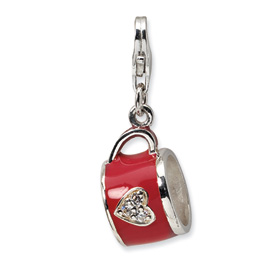 Sterling Silver 3-D Enameled & CZ Cup w/Lobster Clasp Charm