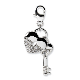 Sterling Silver CZ Heart and Key w/Lobster Clasp Charm