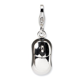 Sterling Silver 3-D Enameled Mouse w/Lobster Clasp Charm