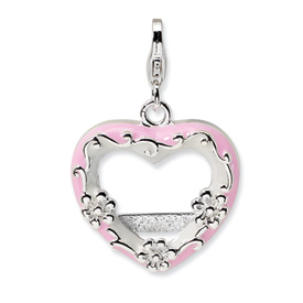 Sterling Silver 2-D Pink Enameled Heart Photo w/Lobster Clasp Charm