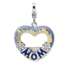 Sterling Silver 2-D Blue Enameled Mom Photo w/Lobster Clasp Charm