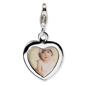 Sterling Silver Polished Heart Frame w/Lobster Clasp Charm
