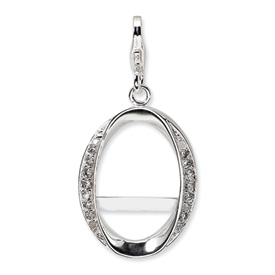 Sterling Silver CZ Oval Photo w/Lobster Clasp Charm