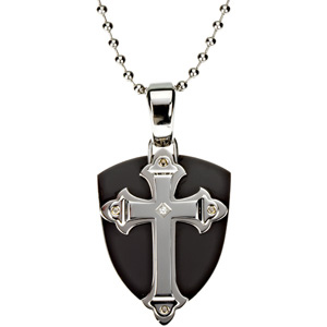 Ion Plated Cross Shield with 30 inch Bead Chain